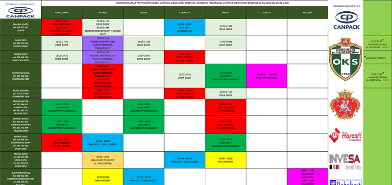 Aktualizacja harmonogramu treningów