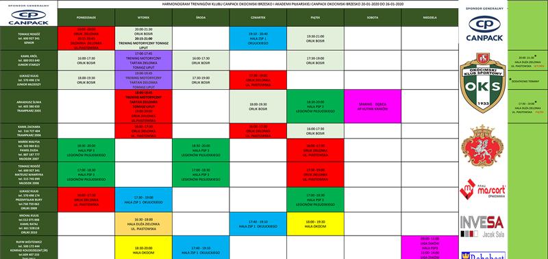 Aktualizacja harmonogramu treningu (akt.)